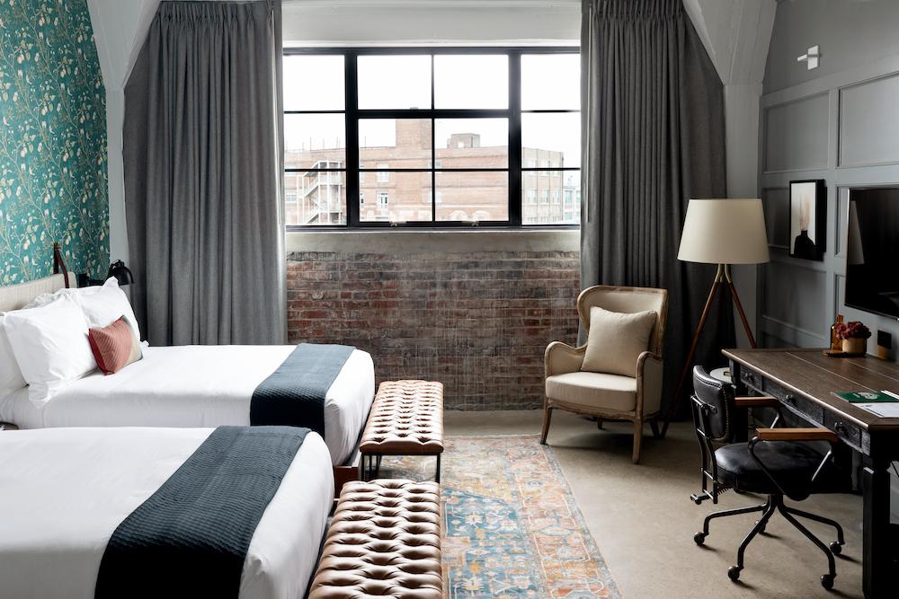 Double Beds Desk + Window View
