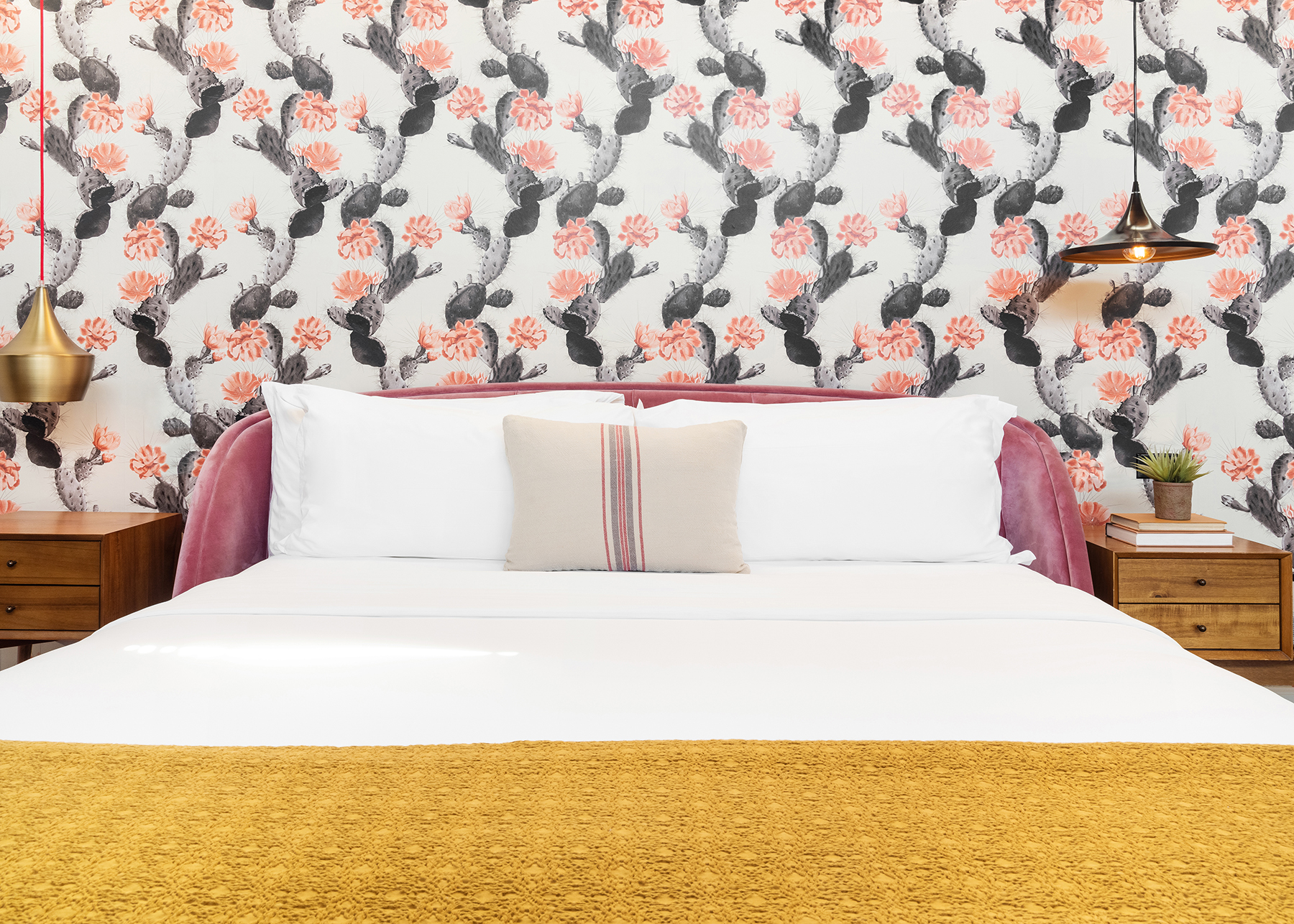 ARRIVE Palm Springs guest room bed cactus wallpaper