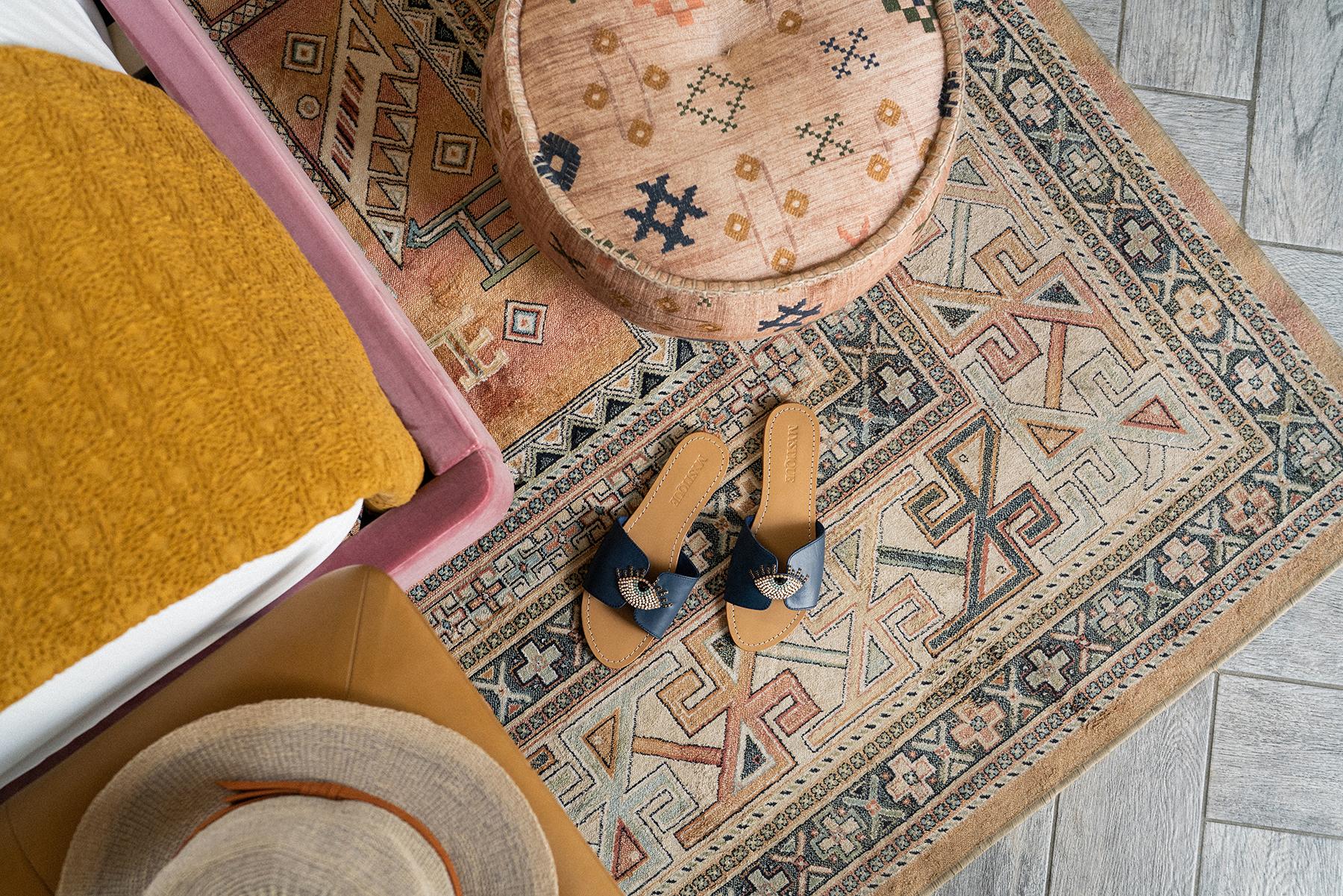 sandals on guest room floor
